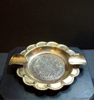 Vintage Signed Sterling Mexico Sun Calender Ashtray Silver 925 Mexican photo