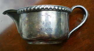 R.  Wallace Silver Soldered 1/2 Pint Creamer United States Navy With Anchor 0693 photo