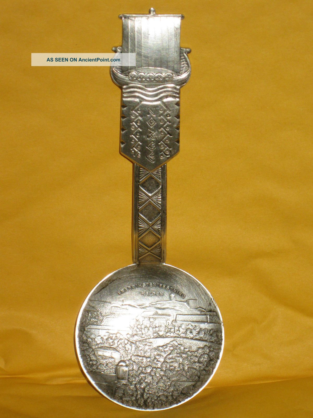 Vintage Norge Norway Silver Viking Ship Souvenir Spoon Nys0lv 60gr 5.  25