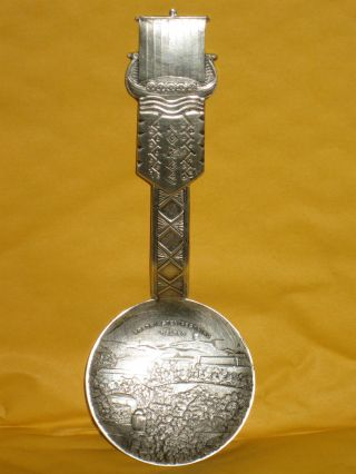 Vintage Norge Norway Silver Viking Ship Souvenir Spoon Nys0lv 60gr 5.  25