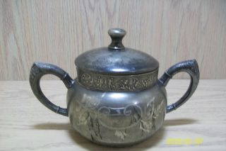 Silver Plate Royal Manufacturing Co Sugar Bowl Leaves & Angel Designs 1885 - 1908 photo
