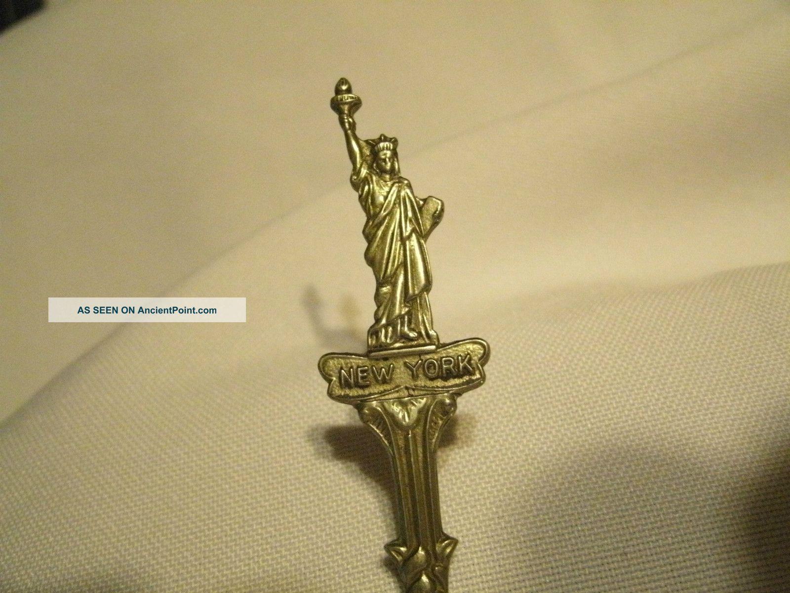 Vintage Silver Plated Spoon Souvenir Rare Statue Of Liberty New York Blue Delft Souvenir Spoons photo