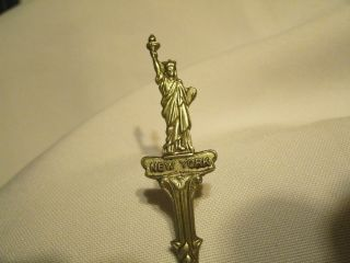 Vintage Silver Plated Spoon Souvenir Rare Statue Of Liberty New York Blue Delft photo