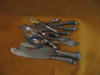 Fourteen Pieces Of Miscellaneous Flatware photo