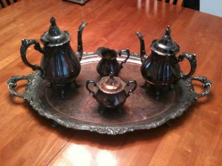 Large 5pc Vintage Wallace Grand Baroque Silver Tea Pot Tray Service Set photo