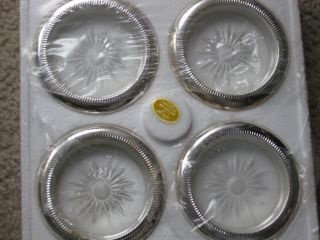 4 Leonard Silver Plated Crystal Coasters Made In Italy New In Box photo