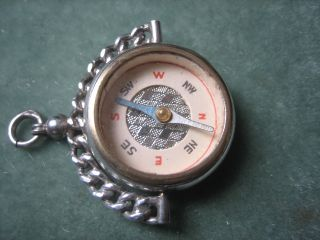Victorian Solid Silver Spinner Compass Fob Blood Stone Birmingham Hallmark 1892 photo