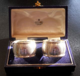 Boxed Pair Of Solid Silver Napkin Rings.  Birmingham 1929 photo