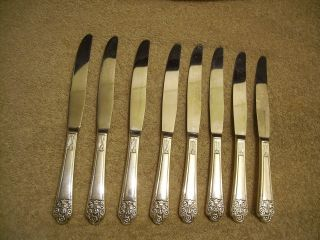 8 Rogers 1941 Precious Dinner Knives Deluxe Plate Hollow Handled Is Silverplate photo