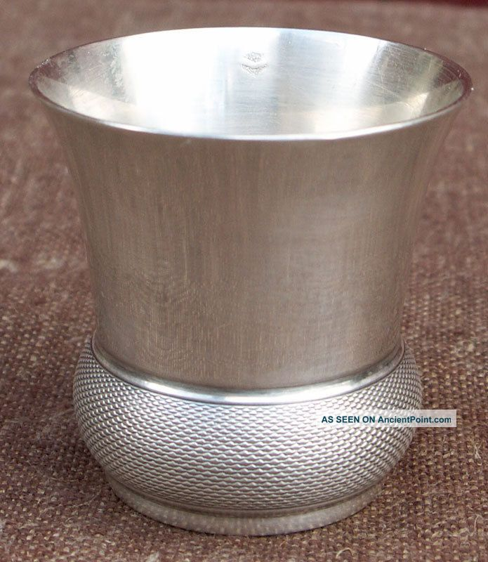 French Guillloche Sterling Silver Shot Cordial Cup Goblet Christofle 1950 Cups & Goblets photo