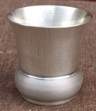 French Guillloche Sterling Silver Shot Cordial Cup Goblet Christofle 1950 photo