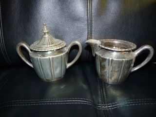 New Amsterdam Silver Co.  Epwm20 Silver Plate Creamer & Sugar Bowl 1800svictorian photo