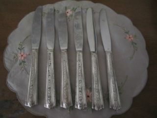 Vtg Wallace Brothers Plate Aa 1938 Roseanne Knives Set Of 6 9 1/4