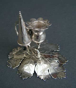 Antique 1847 Solid Sterling Silver Chamber Stick Candle Holder By Taylor & Perry photo