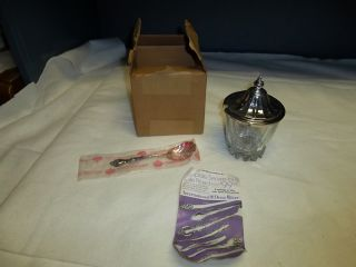 International Deep Silver Sugar Bowl With Spoon Orginial Box (set 2) photo
