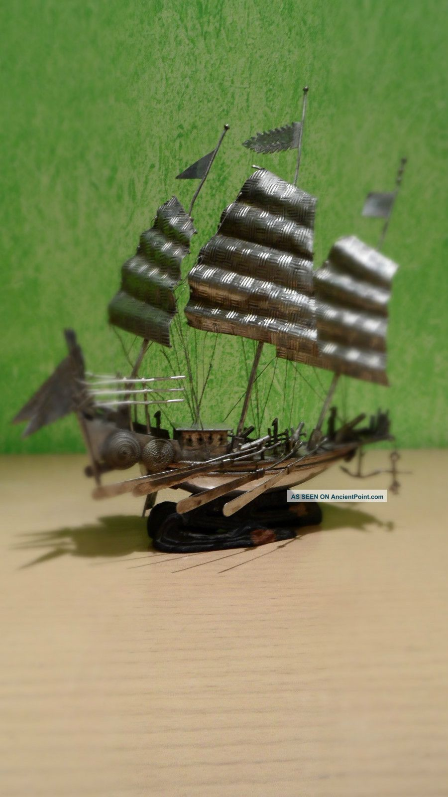 Silver Jonk Boat Chinese Japanese Made Sterling Silver Meiji Asia photo