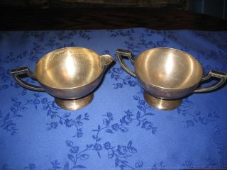 1921 Benedict Silver Matching Creamer & Sugar Bowl photo