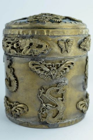 China Collectibles Old Decorated Wonderful Handwork Jade Dragon Tobacco Box +++ photo