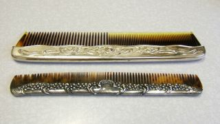 2 Antique Sterling Silver Vanity Comb Back photo