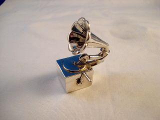 Rare & Unique Tiffany Hand Crank Phonograph Form Sterling Silver Pill Box,  Record photo