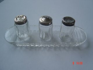 Antique Sterling Silver Miniature Picnic Travelling Cruet Set Salt Pepper Cellar photo