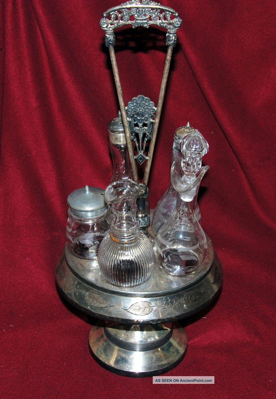 Antique Toronto S P Ca Silverplate 5 Cruet Holder Decanter Set From 18?? Bottles, Decanters & Flasks photo