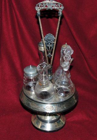 Antique Toronto S P Ca Silverplate 5 Cruet Holder Decanter Set From 18?? photo