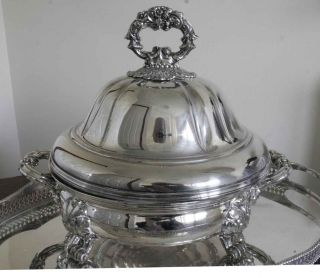 Large Silver Plated Platter With Domed Lid & Liner.  Old Sheffield Plate.  1800 ' S photo