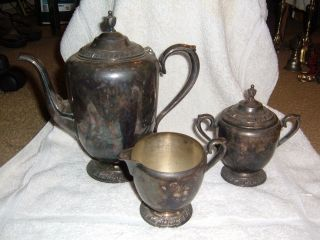 Antique Silver William Rogers Avon Pitcher,  Cream,  & Sugar Dish photo