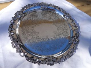 Vintage Victorian Sheffield Style Raised Silverplate Platter Gorham Mfg.  English photo