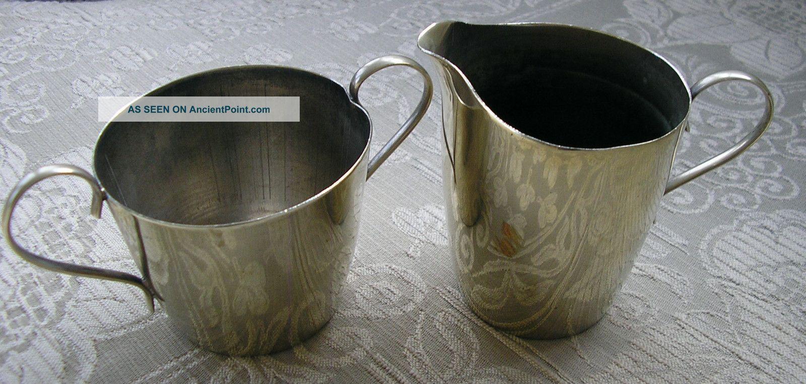 Pretty Vintage Silver Plated Epns Small Size Sugar Bowl & Milk Jug Sugar Bowls/ Tongs photo