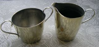 Pretty Vintage Silver Plated Epns Small Size Sugar Bowl & Milk Jug photo