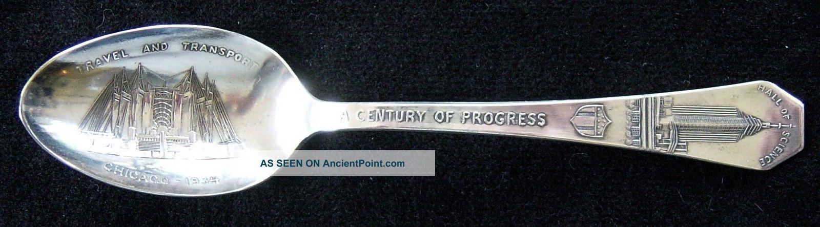 1934 Chicago World ' S Fair Themed Souvenir Silverplated Spoon Souvenir Spoons photo