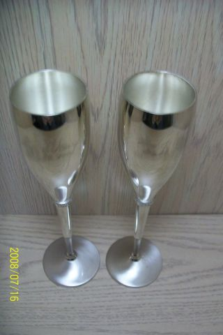 Silver Plate Long Stem Goblets Rhinestone Design photo
