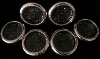 Set Of 6 F.  B.  Rogers Sterling Silver Coaster/ash Trays photo