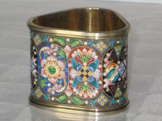 Russian Gild Silver 88 Enamel Napkin Ring - Feodor Ruckert photo