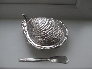 Silver Plate Oyster Butter Dish & Knife Frosted Glass Insert photo