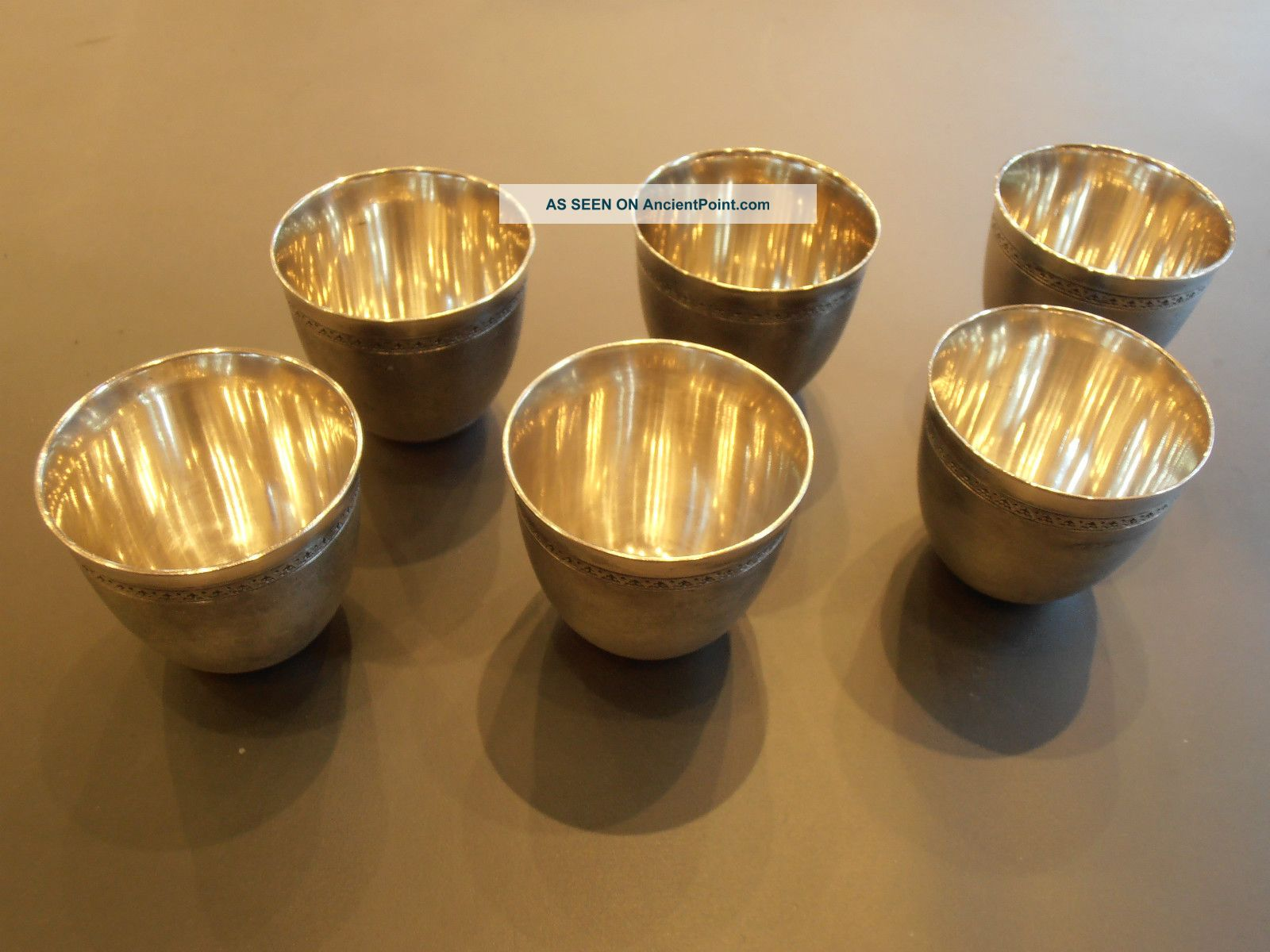 6 Antique Russian 84 Silver Egg / Vodka Cups,  Rare,  Perfect Condition Bargain Cups & Goblets photo