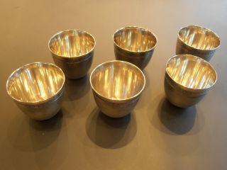 6 Antique Russian 84 Silver Egg / Vodka Cups,  Rare,  Perfect Condition Bargain photo