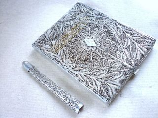 Antique Continental Sterling Silver Filigree Cigarette Case & Holder photo