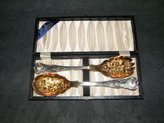 Vtg William Adams 2 Pc Salad Set Serving Spoon Fork Sheffield England Gold Wash photo