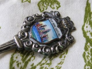 Sterling Silver Souvenir Spoon New York Skyline Mk ' D Germany 925reu photo