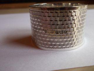 E J Houston Napkin Ring Solid Silver Dated 1917 Hallmarked Birmingham Vnc photo