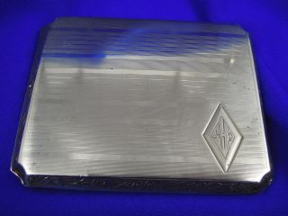 Vintage Elgin,  Usa Sterling Silver Cigarette Case W/embossededges Weighs 90 Grms photo
