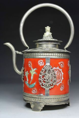 Chinese Old Porcelain Handwork Painting Flower Portable Tea Pot photo
