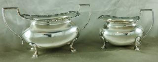 Good 19th Century Sheffield Silver Plate Sugar & Creamer photo