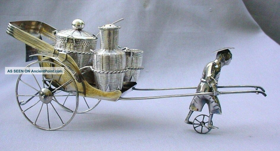 Large Antique Chinese Solid Silver Rickshaw Cruet / Condiment Set Fine - Moves Asia photo