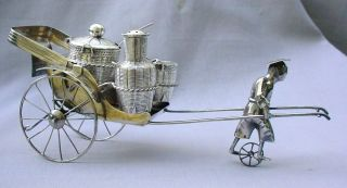 Large Antique Chinese Solid Silver Rickshaw Cruet / Condiment Set Fine - Moves photo