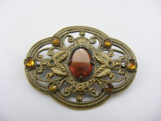 Antique Victorian Pin Brooch Citrine Gem Set Rolled Gold Pinchbeck photo
