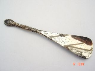 Unusual Pattern Silver Shoe Horn Hallmarked Birmingham 1904 William Devenport photo
